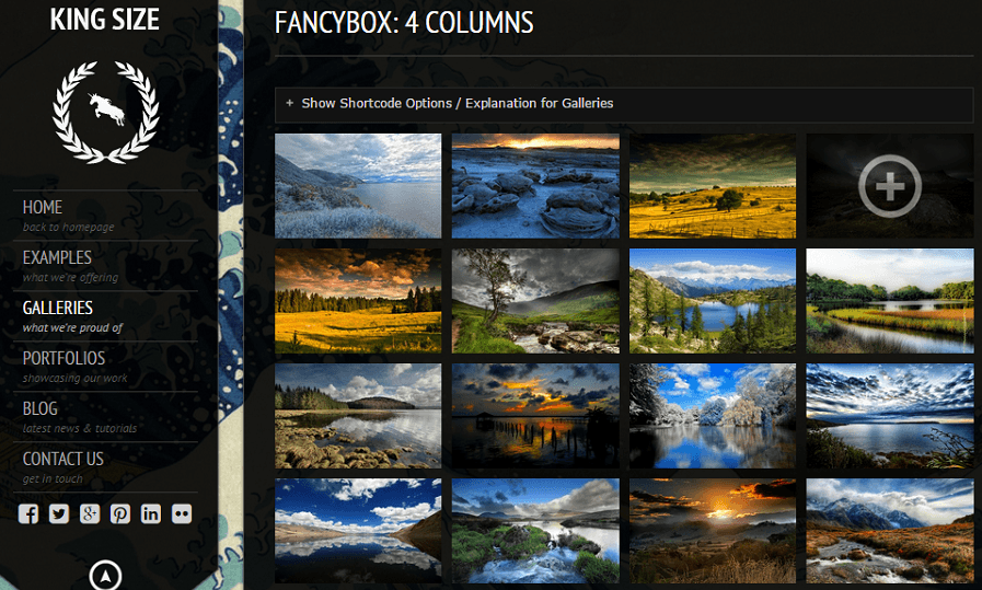 King Size- Gallery layout named Fancybox supporting grid upto 4 columns