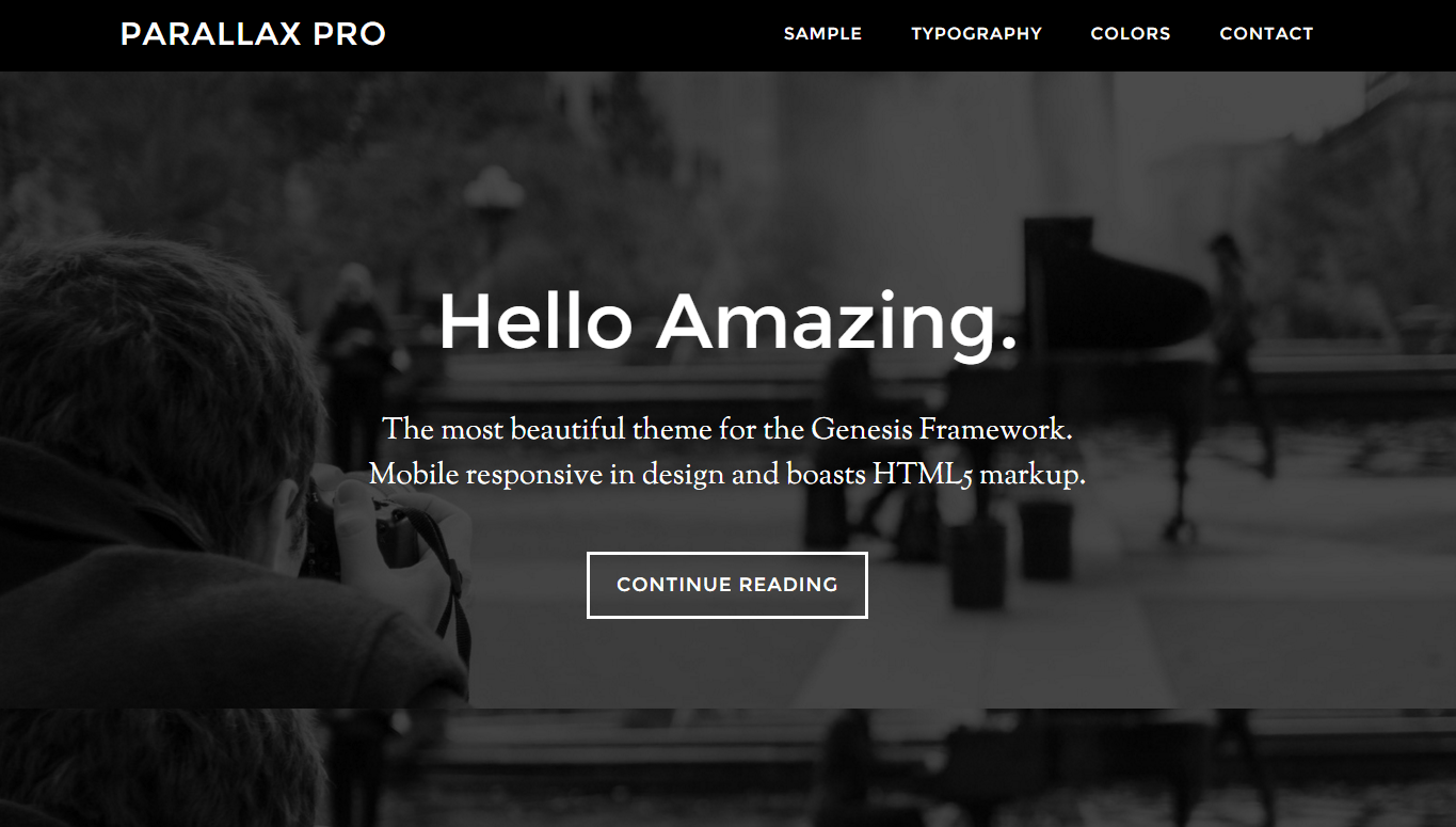 Parallax Pro- Front page with fullscreen images
