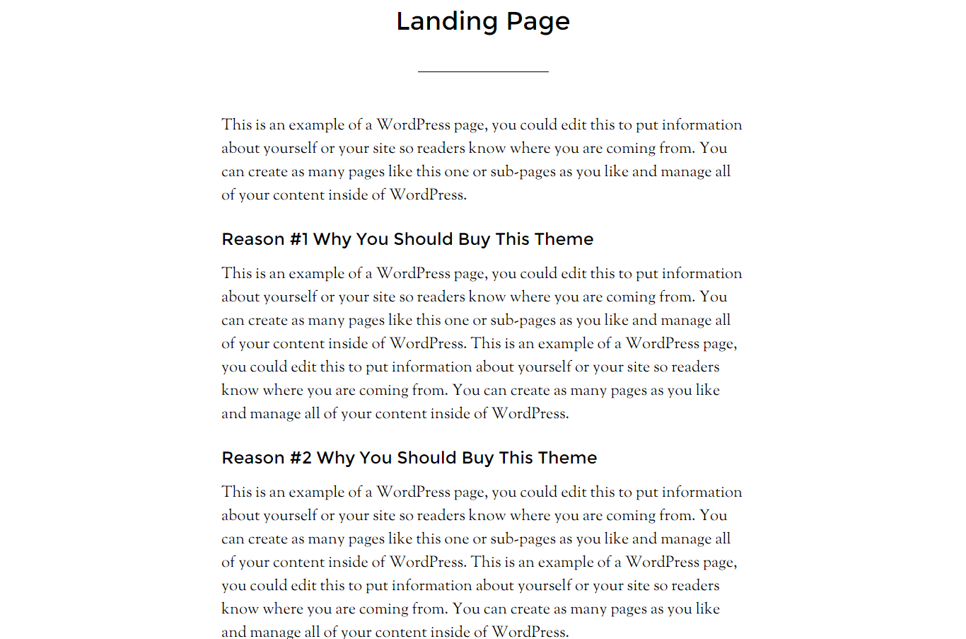 Parallax Pro- Landing page of this theme with page template