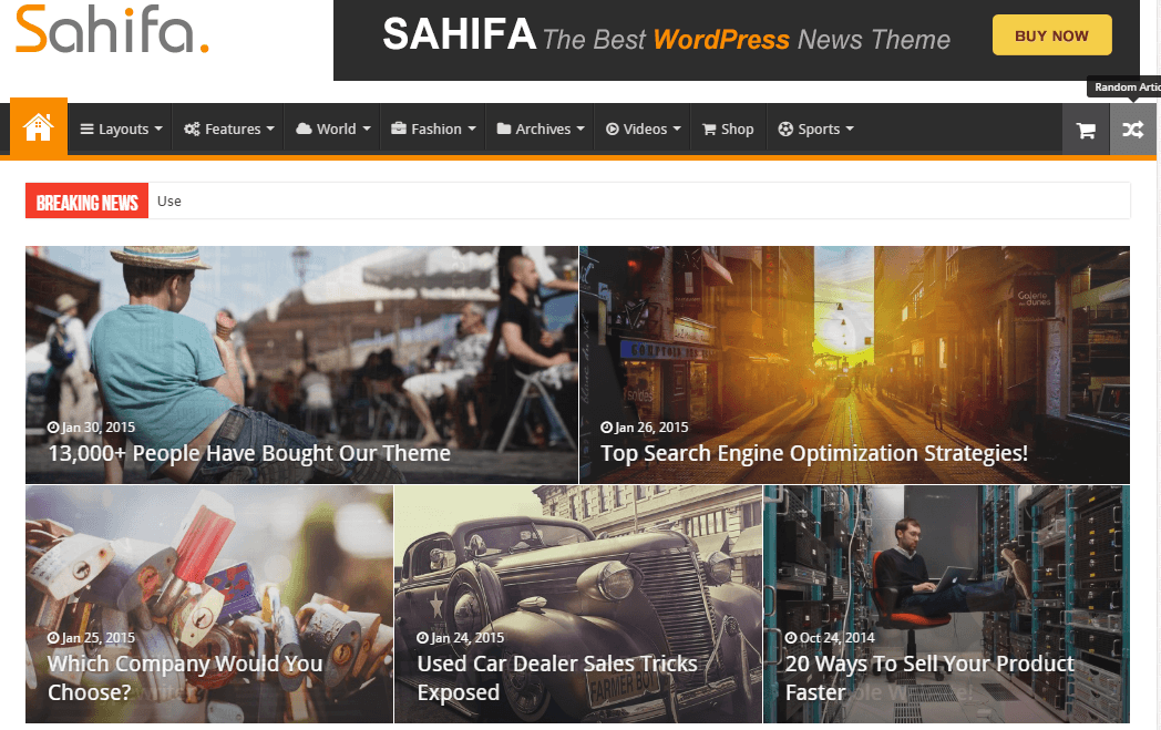 Sahifa- HomePage showing Grid Slider
