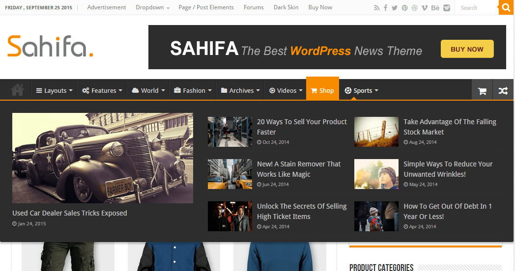 Sahifa- Wide or mega menu is supported with this theme