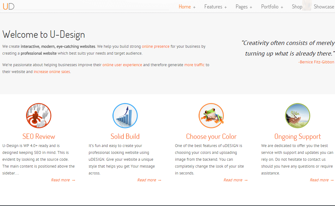 U-Design- Page created with visual composer modules