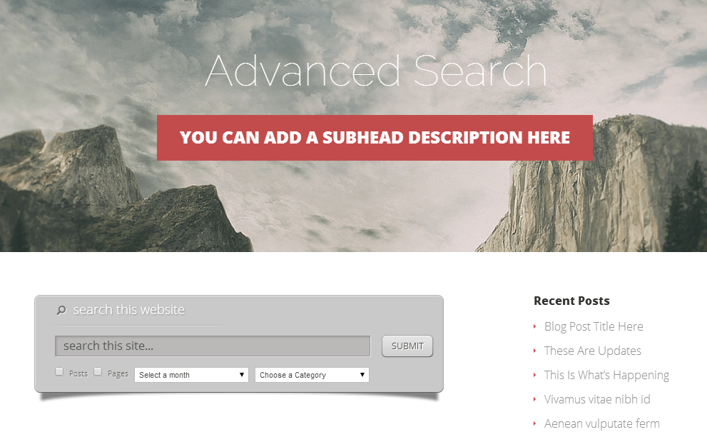 Advance Search Panel Vertex Theme