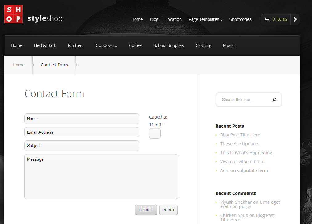 Contact Page of StyleShop Theme