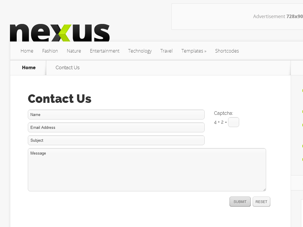 Contact Page Nexus Theme