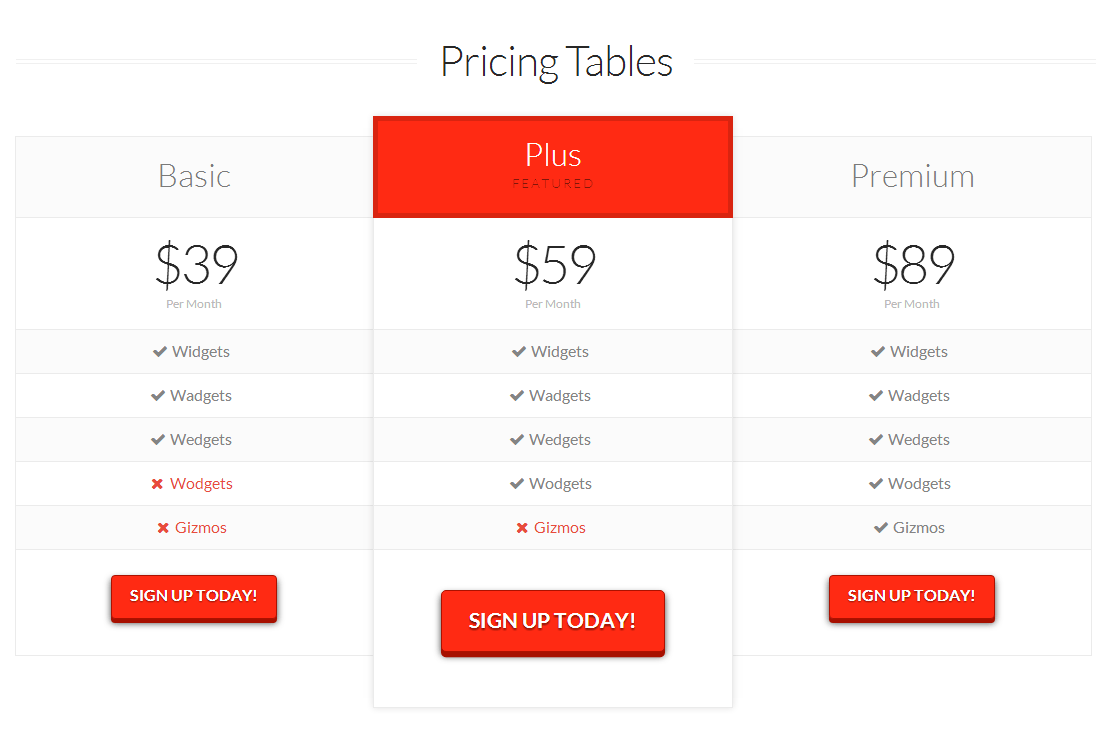 X Theme Pricing Table Page