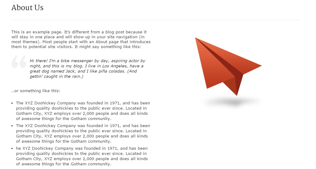 About us page of JustLanded theme