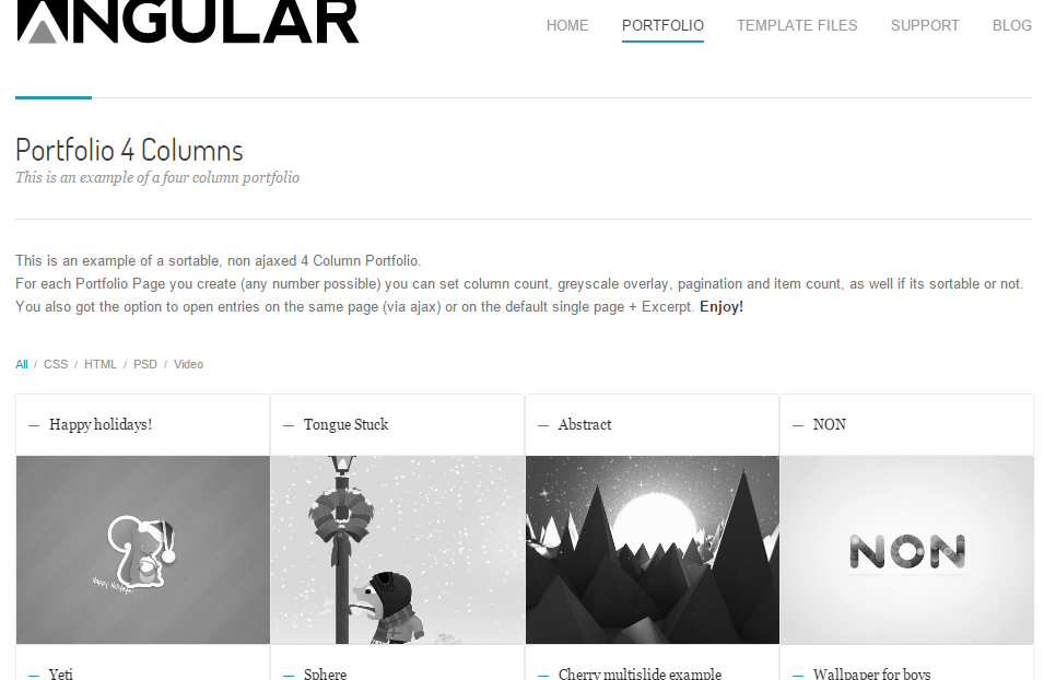 Angular- This theme supports portfolio layout with up to 4 columns