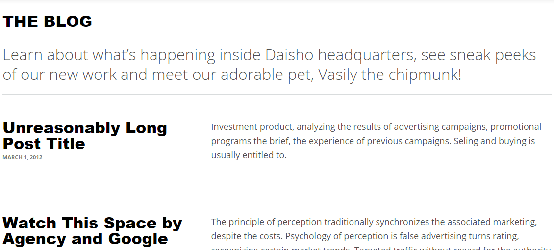 Blog page of Daisho theme