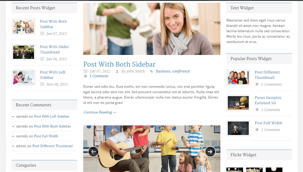 Blog page with right and left sidebar.