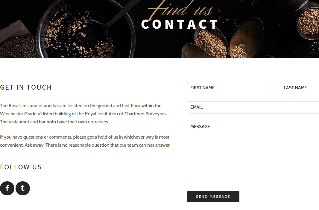 Contact Page of Rosa