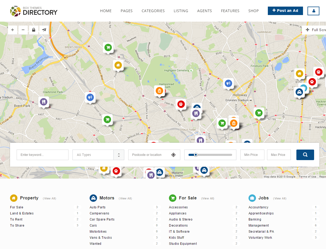 Directory- map showing related results searched from search box