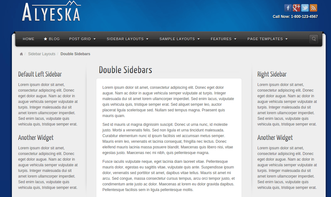 Double sidebar layout of Alyeska