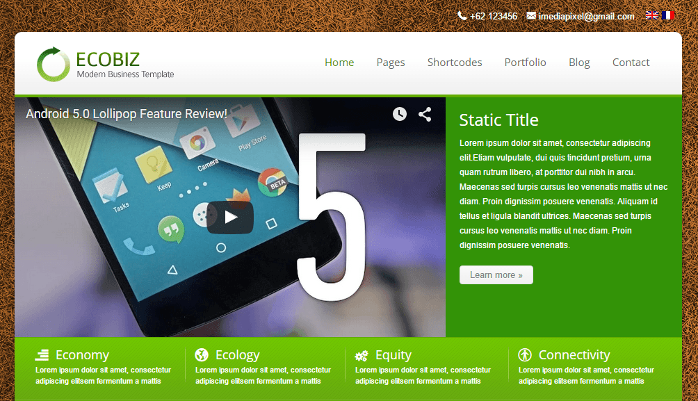 ECOBIZ- Static home page layout