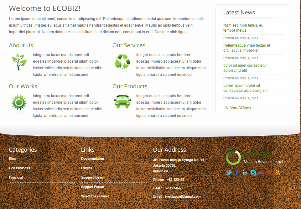 ECOBIZ- front page built with different shortcodes available