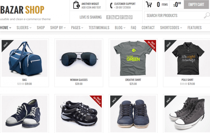 Homepage of Bazar Shop theme