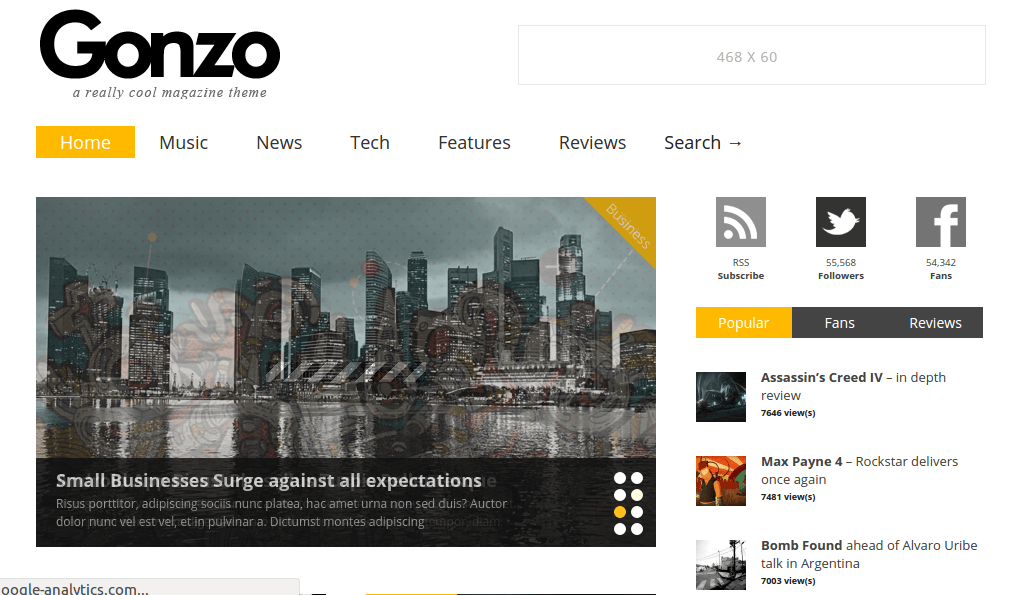 Homepage of Gonzo