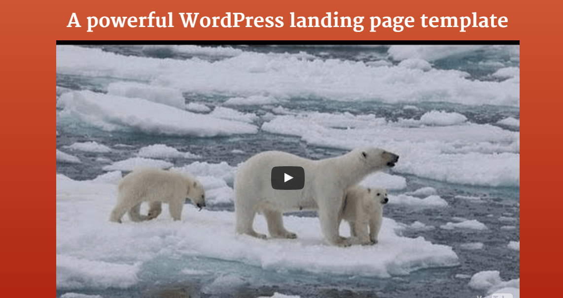Homepage of Landing page containing banner with large video
