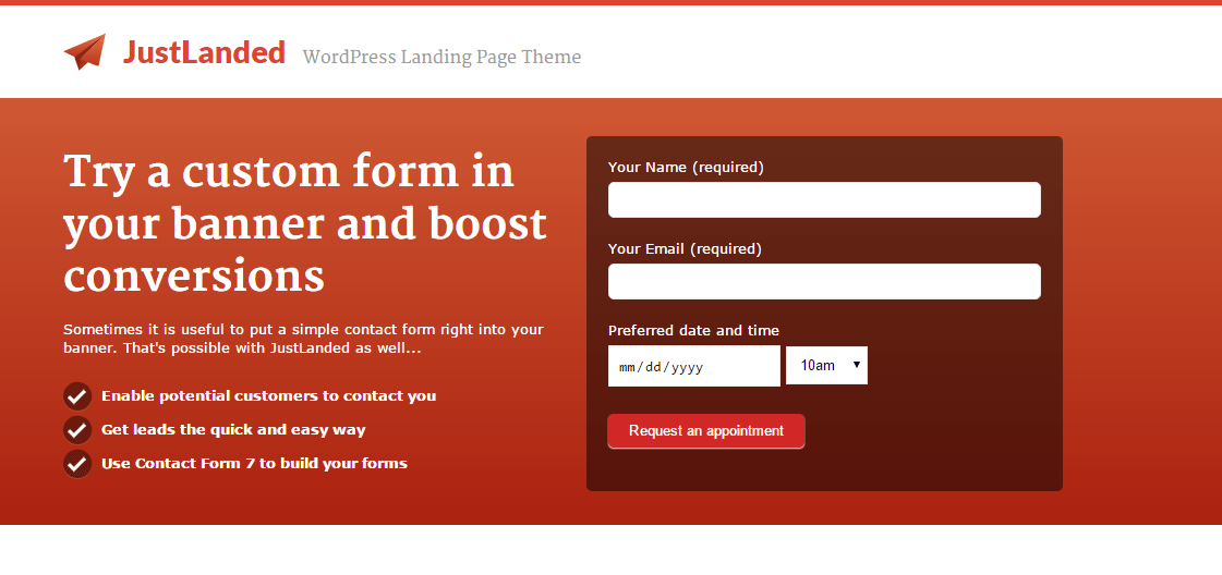 Justlanded theme containing Banner with custom form
