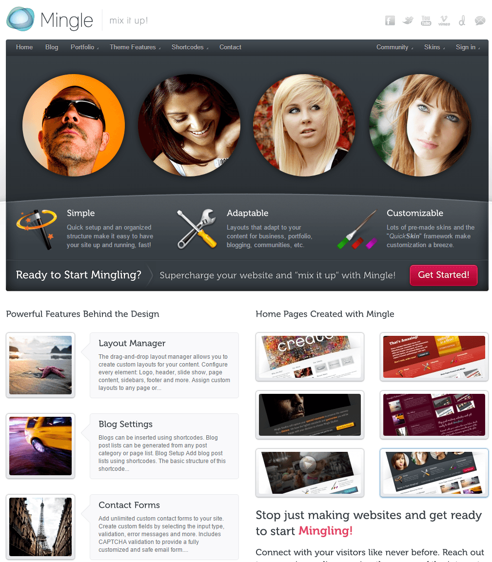 Mingle- Front page of this theme