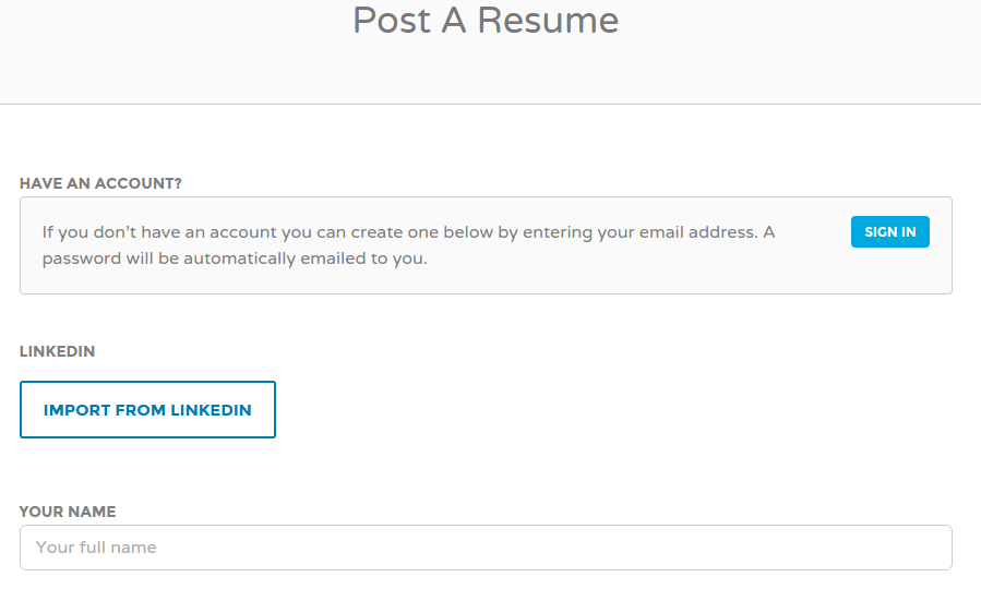 Post resume page format of jobify
