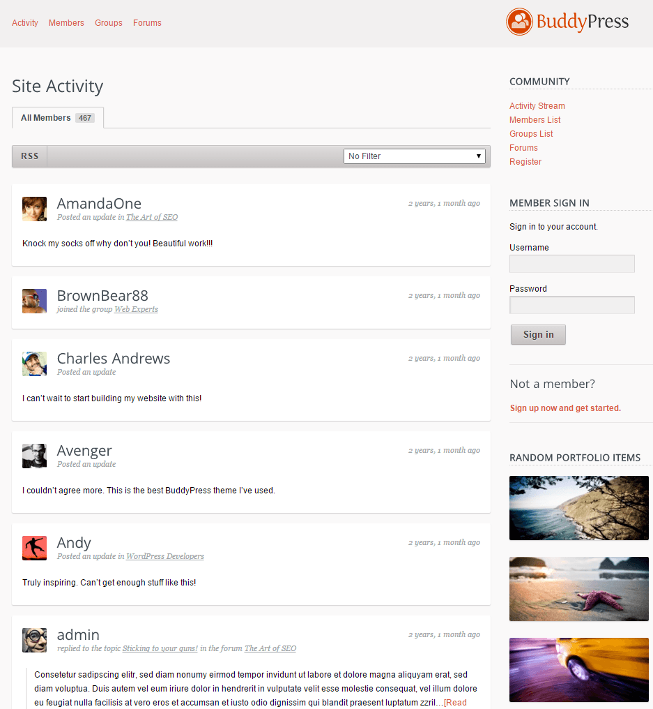 Salutation- Community page built with buddypress plugin