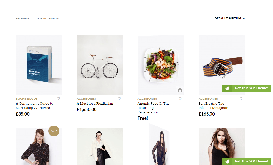 Shop page of Retailer theme