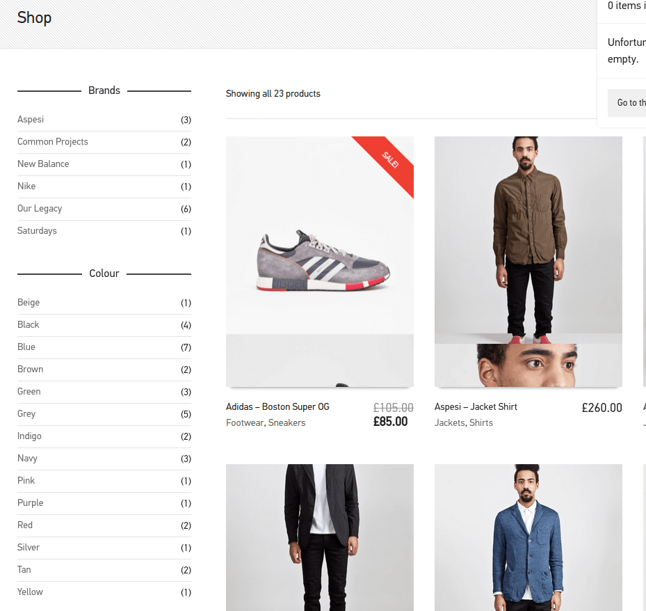 Shop with left sidebar