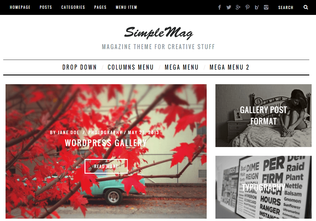 SimpleMag- Front page featured with slider