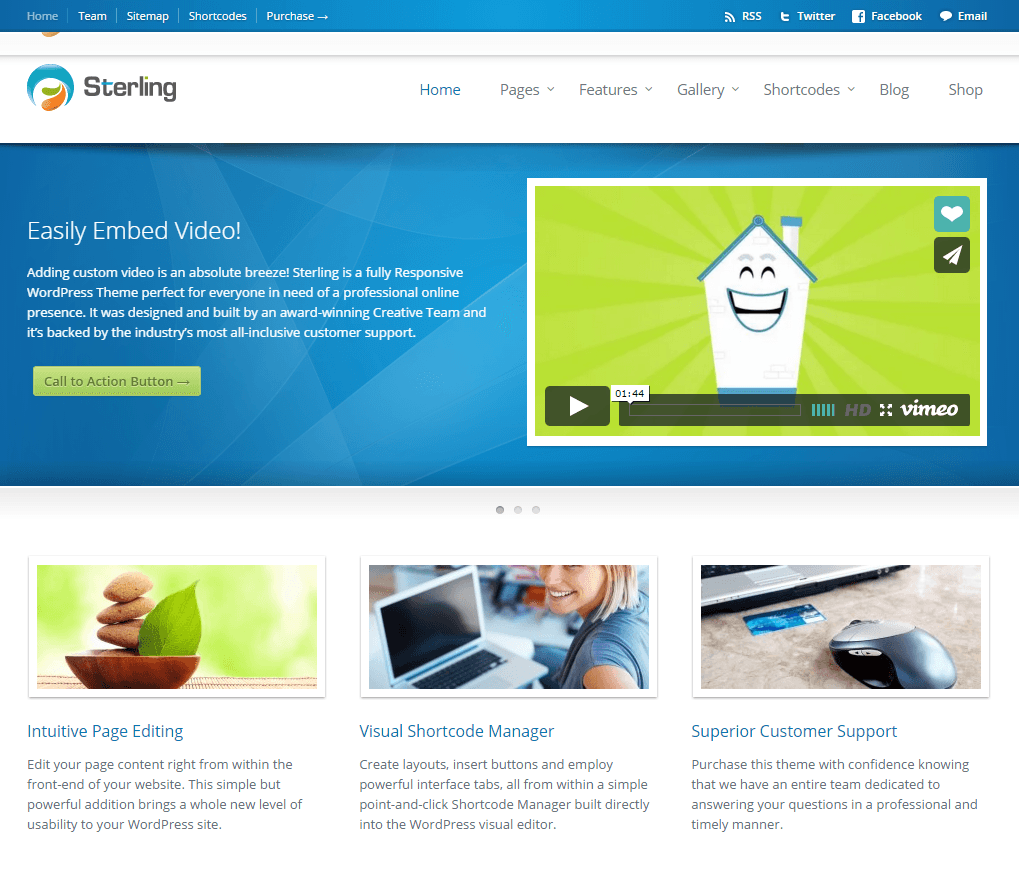 Sterling- Front page featured with one of the slider suported by this theme