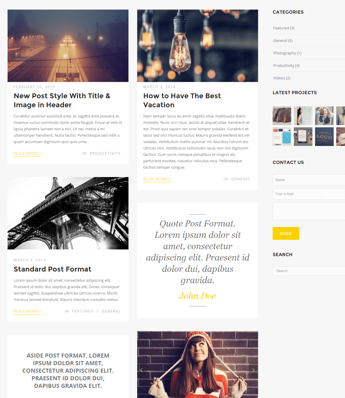 Story- 2 Column and sidebar page layout