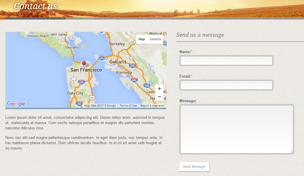 White Rock- Contact page designed with this theme supports map as well