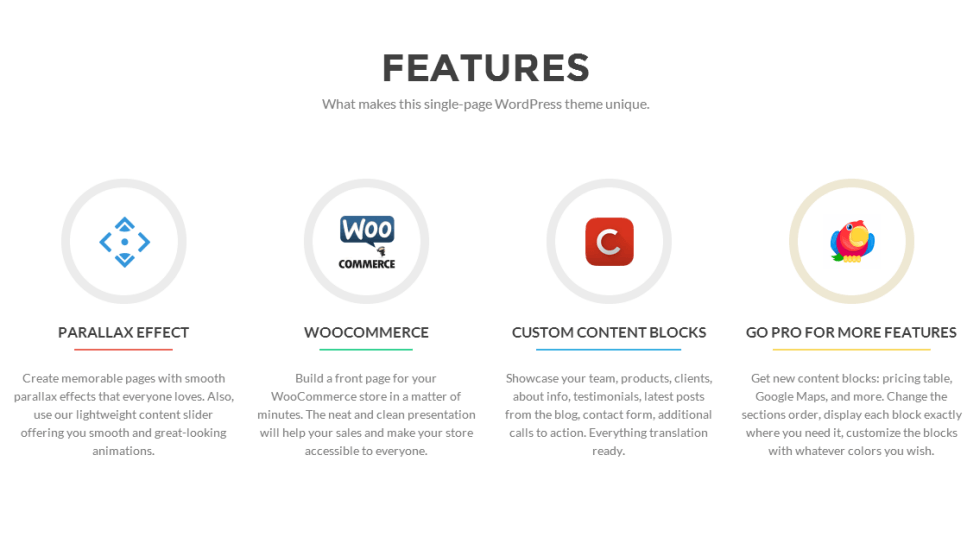 Features Section of Zerif Lite Theme