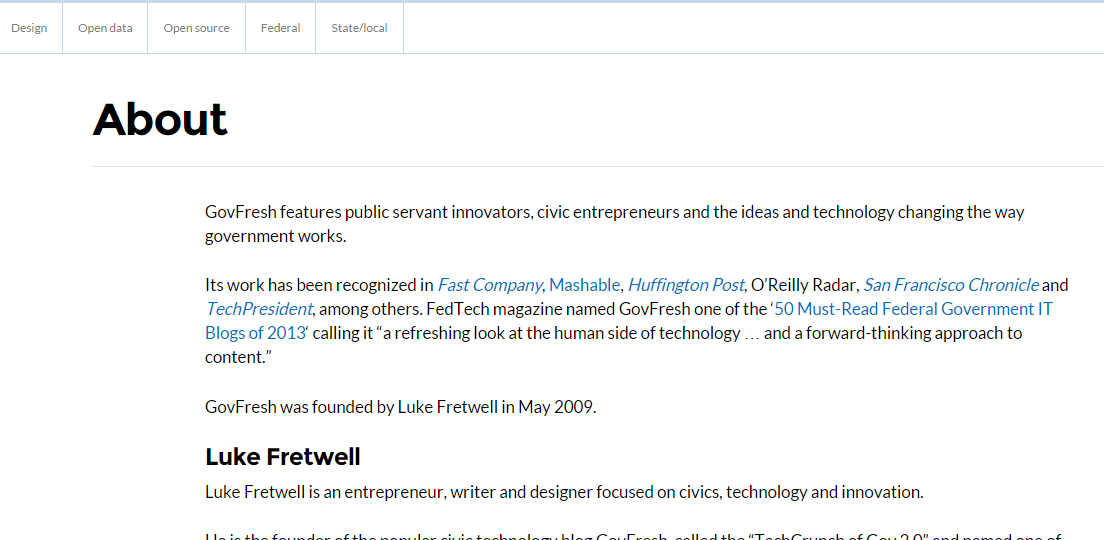 About us page of GovFreshWP theme