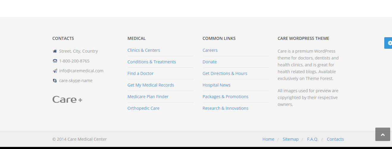 Care_footer page contains the address of clinic and contact details as well important links.