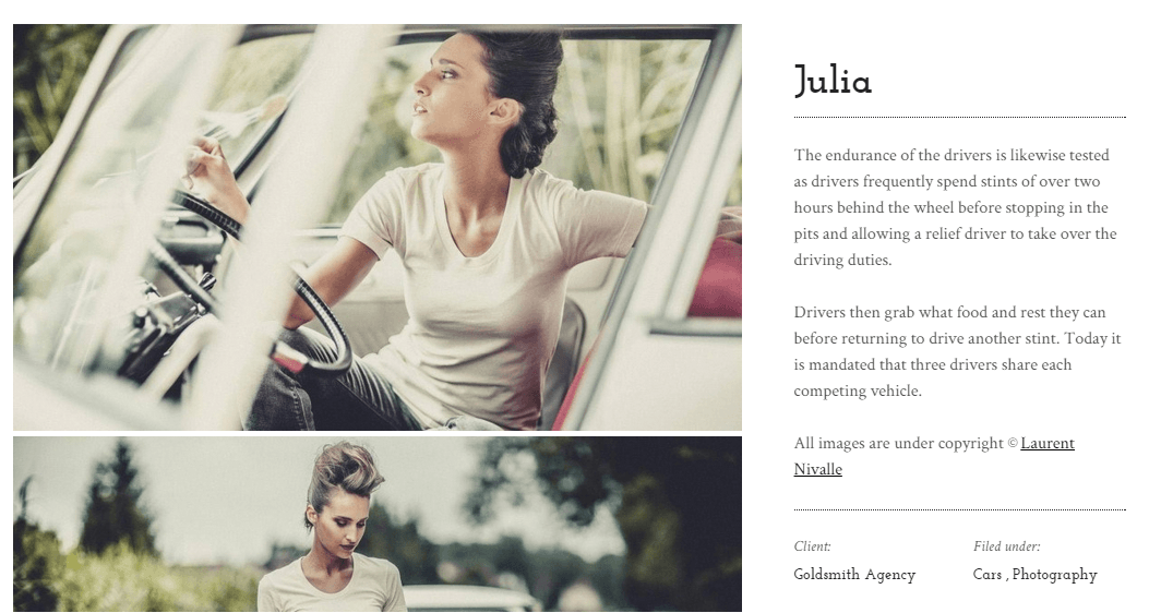 Lens Portfolio page with Right sidebar.