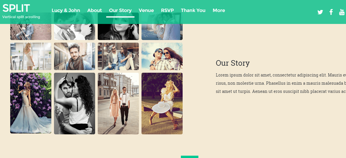 Story page of wedding of Split theme