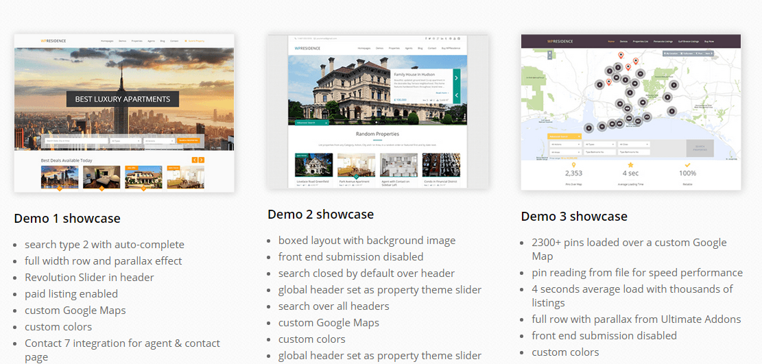 WP Residence- Different demo sites built with this theme