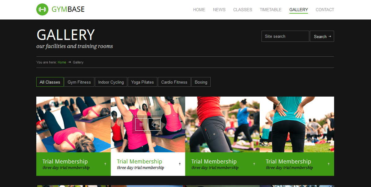 GymBase- Gallery with various tabs to group your images.