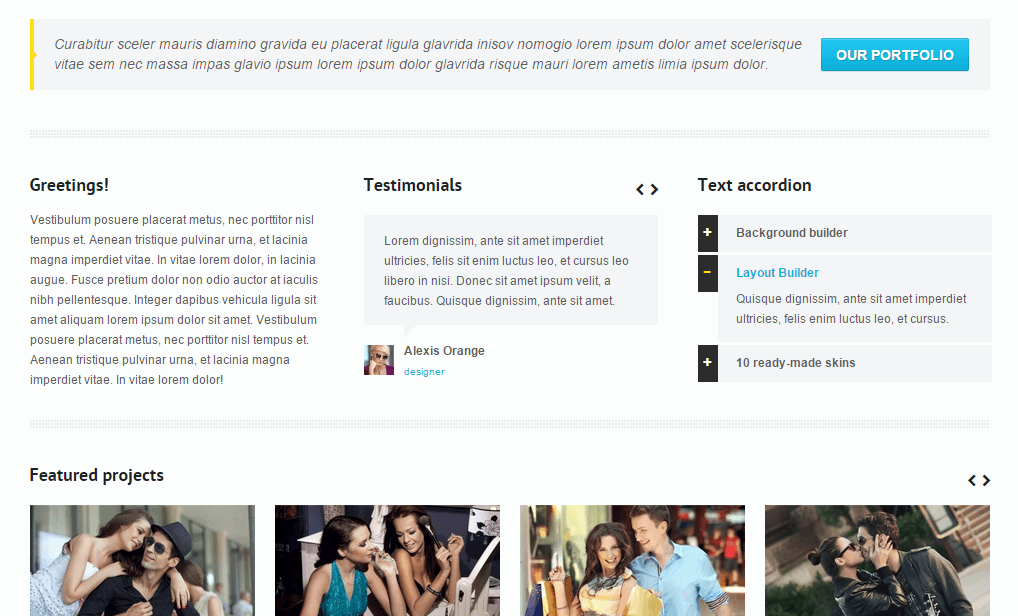 Nimble- Content of home page with different elements