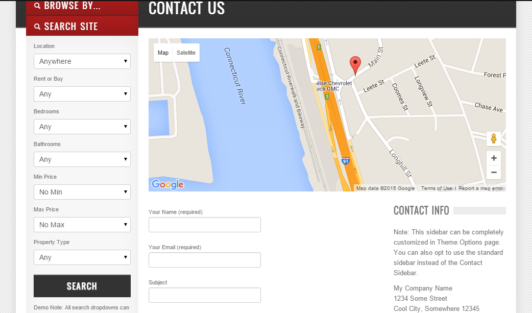 OpenDoor- Contact page layout showing Google Map, Contact form and sidebar