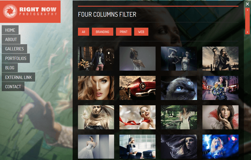 Riight Now- Portfolio layout with up to 3 columns and hovering effects