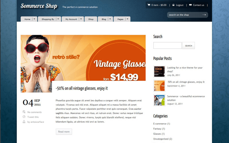 Sommerce Shop- Blog page with right sidebar