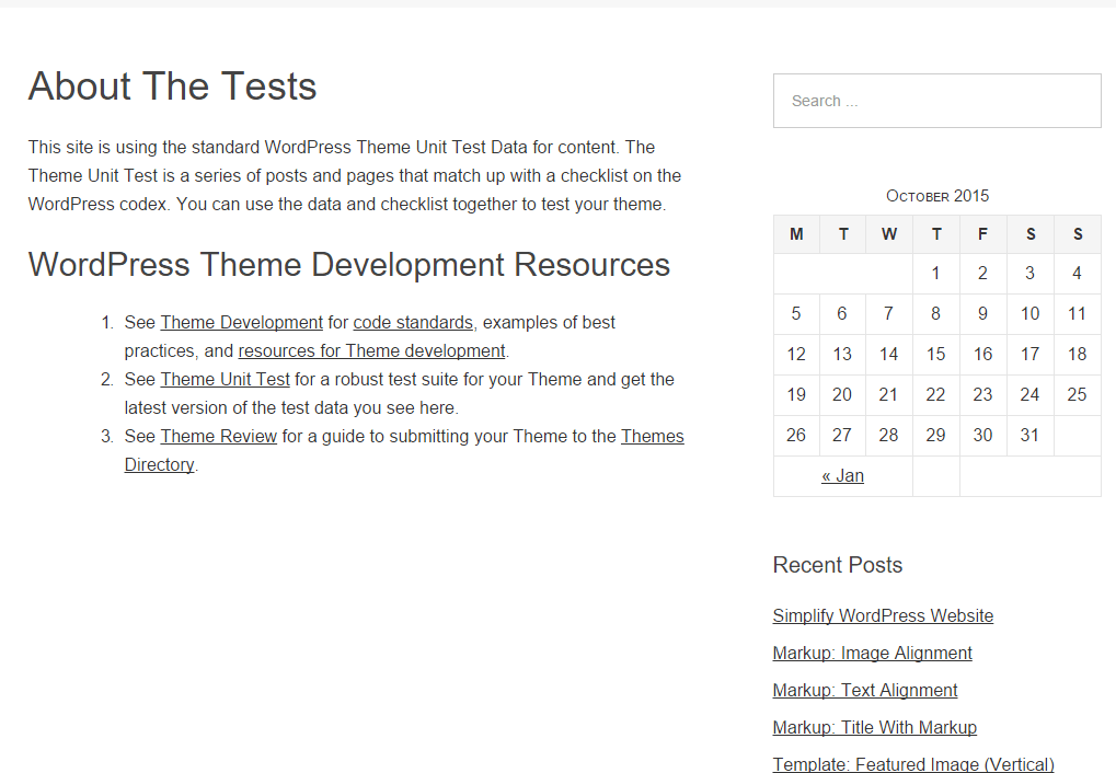 About us page of Omega theme