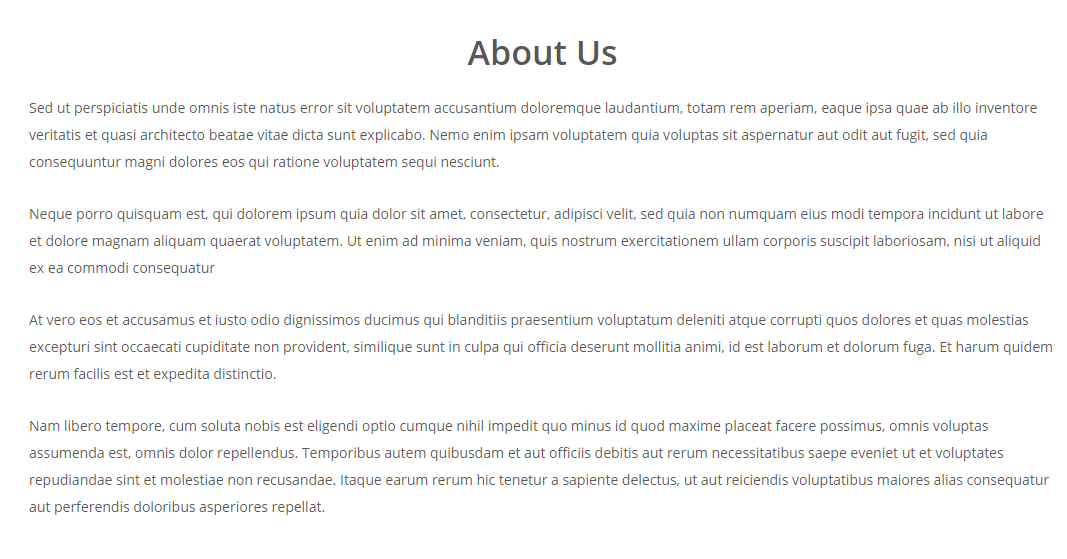 About us page of Woga theme