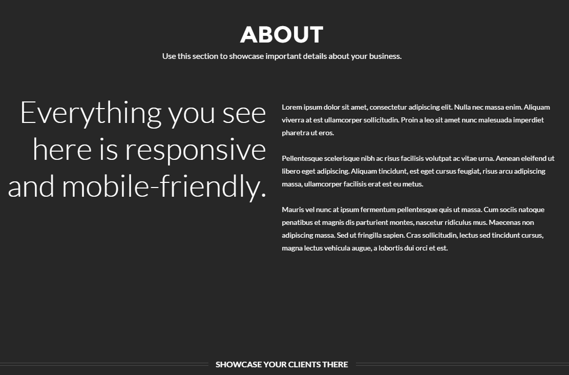 About us page of Zerif Pro theme