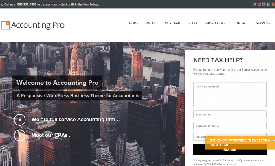 Accounting Pro- Home page featured with slider