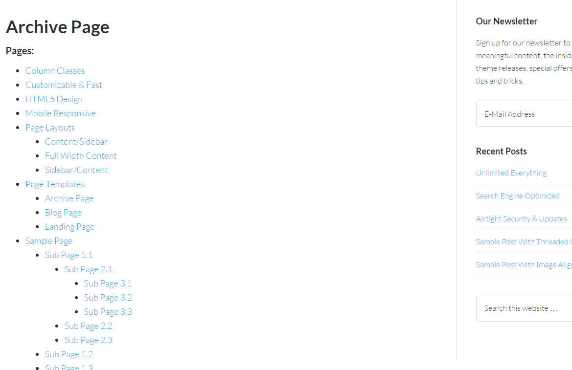 Archive page of Centric Pro theme