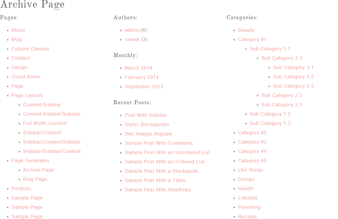 Archive page of Swank Theme