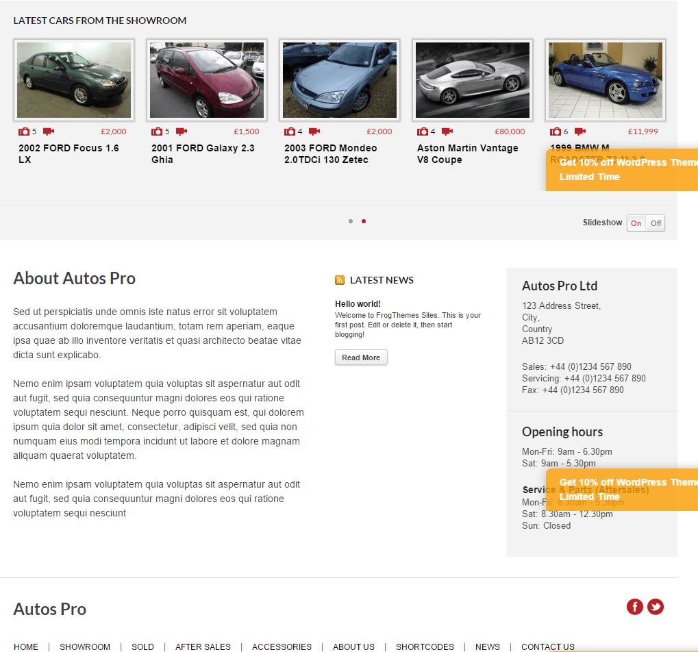 Autos Pro- Feature product slider and other content part of front page